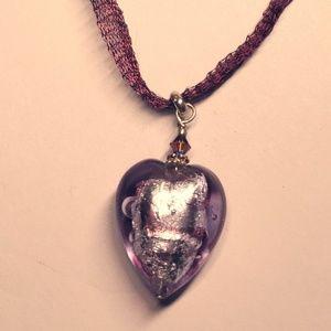 Murano/Venetian Lavendar Heart Necklace